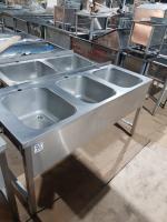 Ванна моечная 3-ух секционная с бортом 1600*600 мм нержавеюшая сталь БУ
