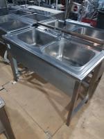 Ванна моечная 2 секции с бортом 1200*600 мм БУ