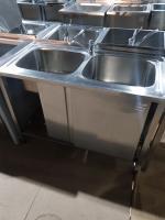Ванна моечная купе 2 секции 1200*600 мм с бортом БУ